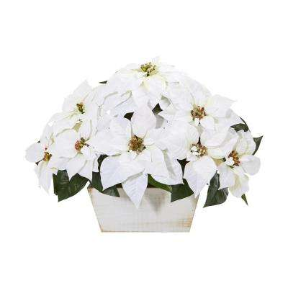 16 in. Poinsettia Artificial Arrangement in White Wash Planter