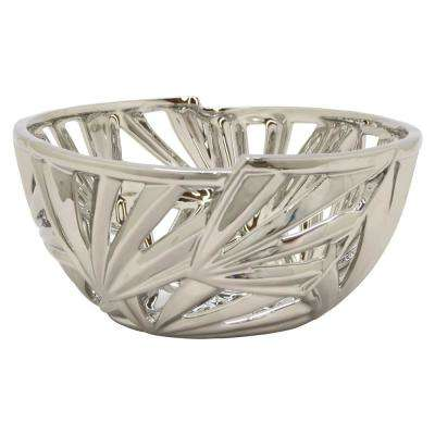 10.5 in. x 10.5 in. Silver Decorative Pierced Ceramic Bowl