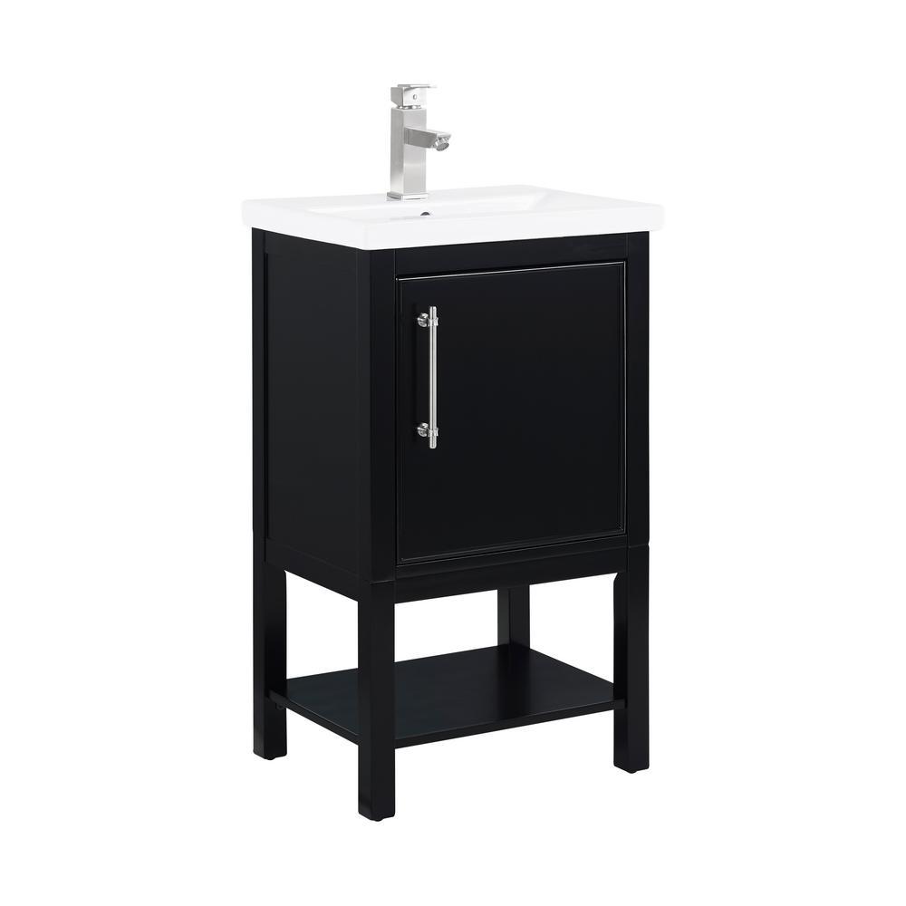 Taylor 20 in. W x 15 in. D x 34 in. H Bath Vanity in Black with Ceramic Vanity Top in White with White Basin