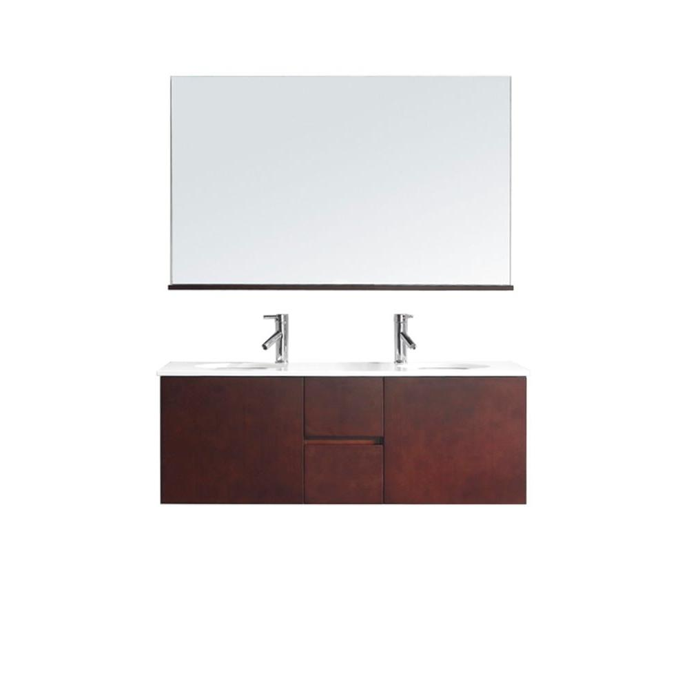 Virtu USA Matteo 51 in. Double Basin Vanity in Espresso with Ceramic Vanity Top in White and Mirror with Shelf-DISCONTINUED