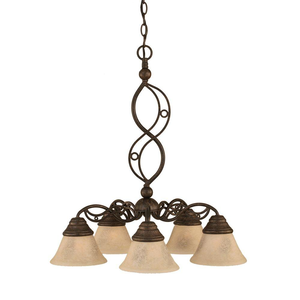 Concord Series 5-Light Bronze Chandelier with Italian Marble Glass Shade