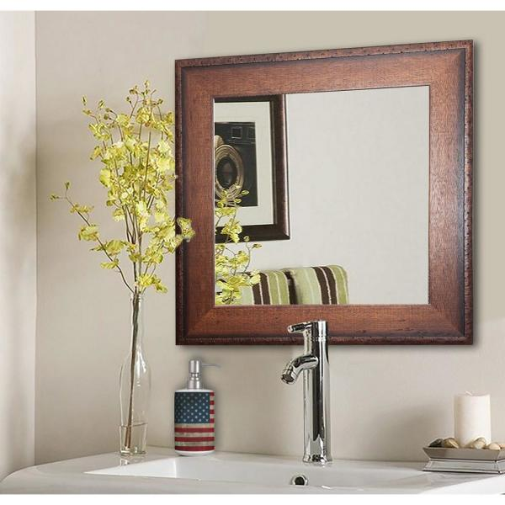 16 in. W x 16 in. H Framed Square Bathroom Vanity Mirror in Brown