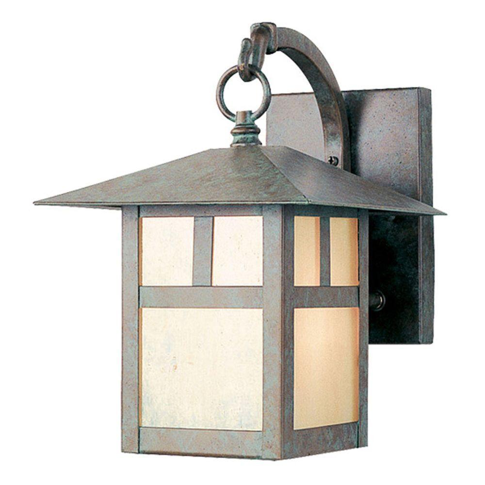 Wall-Mount 1-Light Verde Patina Outdoor Incandescent Lantern