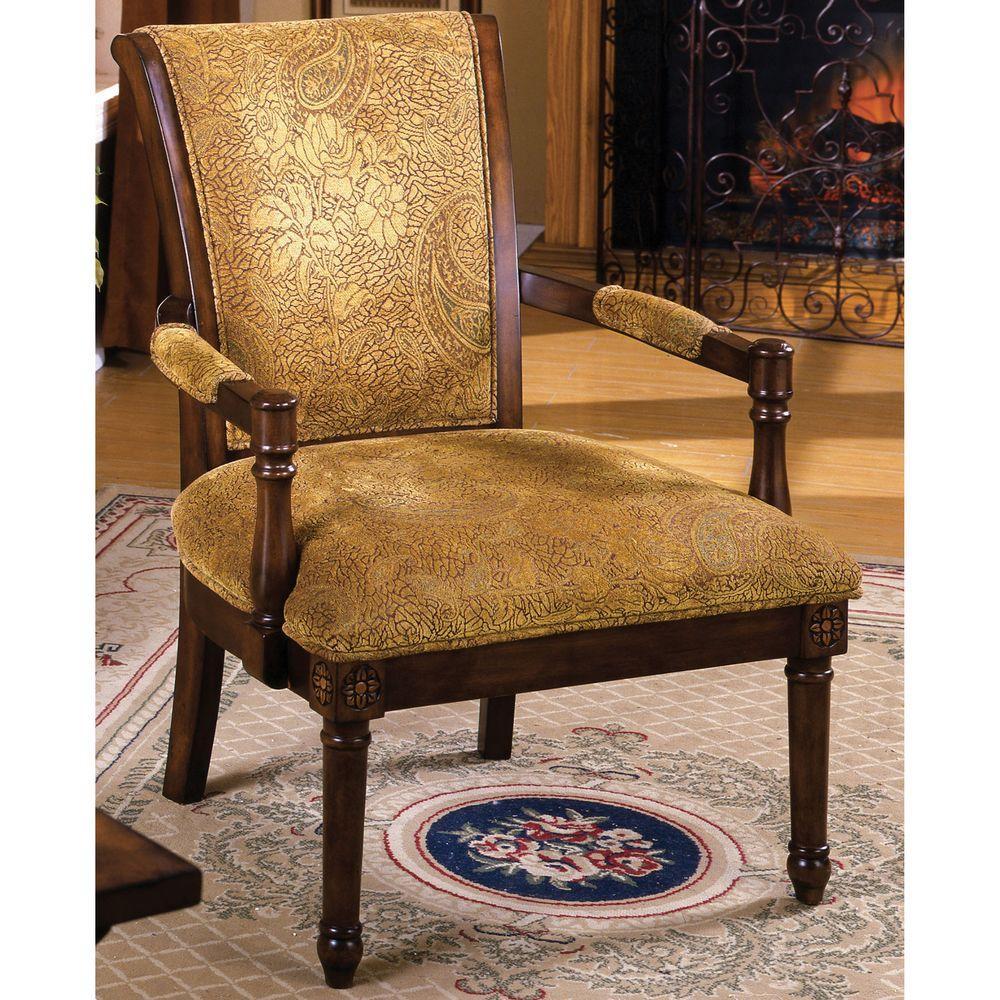VenetianWorldwide Venetian Worldwide Stockton Antique Oak Fabric Arm Chair, Antique Oak Finish