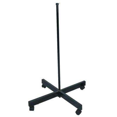 32 in. Black Lamp Stand with Wheels
