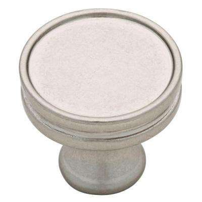 Groove 1-1/16 in. (27mm) Bedford Nickel Groove Round Cabinet Knob