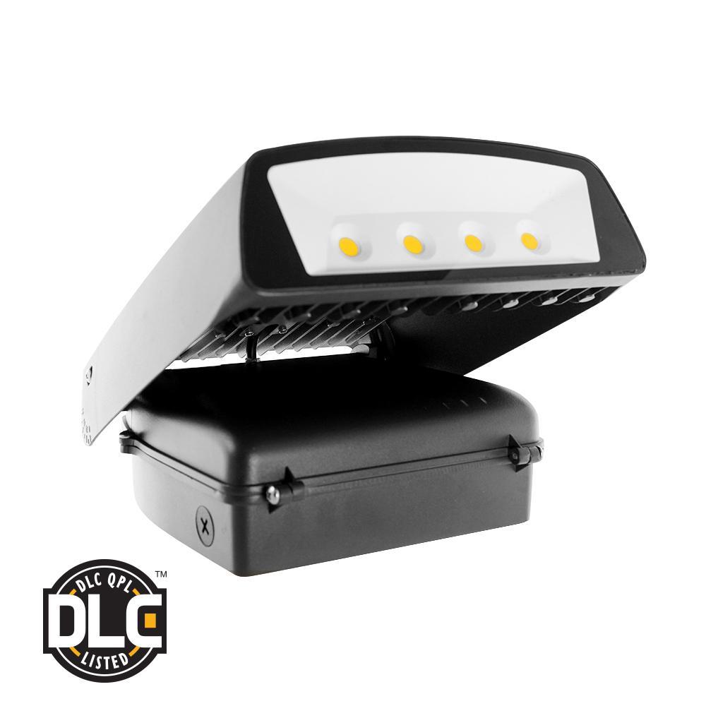 70-Watt Black Outdoor Integrated LED Wall Pack Light