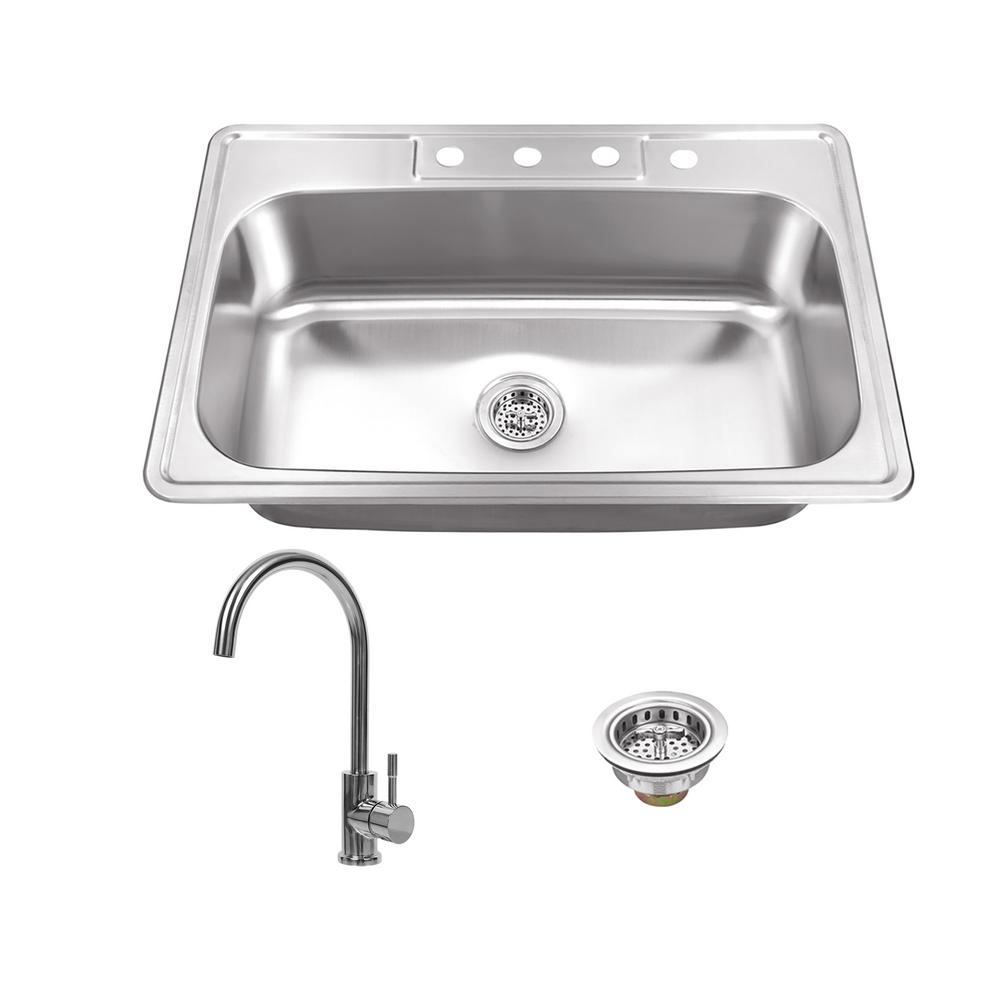 Drop-In Stainless Steel 33 in. 4-Hole Single Bowl Kitchen Sink with