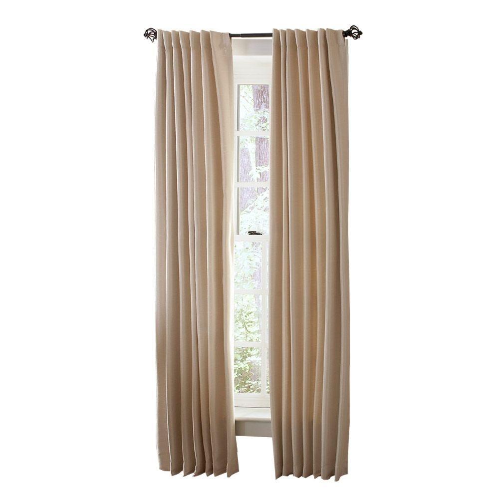 Martha Stewart Living Heavy Cream Faux Silk Room Darkening Back Tab Curtain
