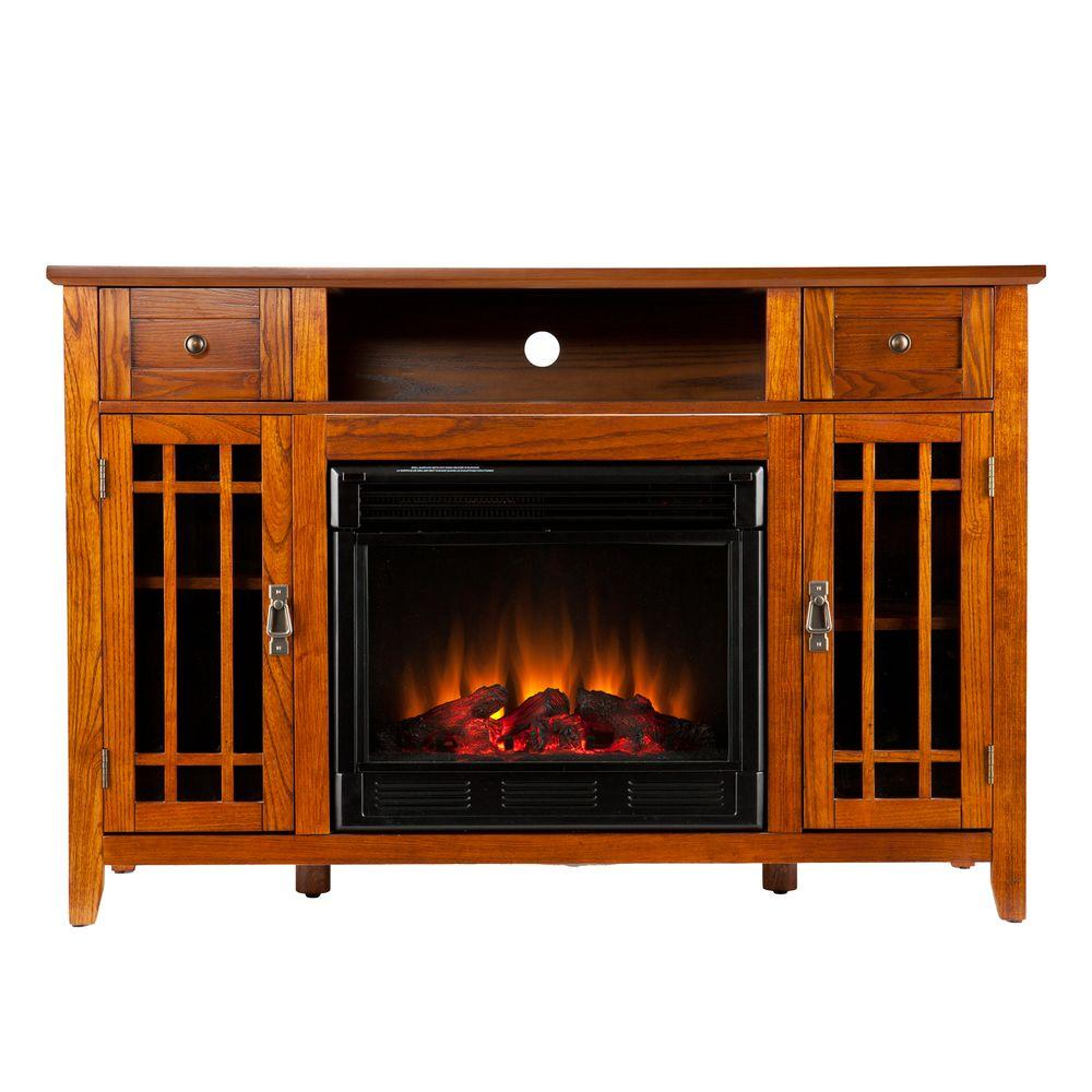 Southern Enterprises Salinas 52 in. Media Console Electric Fireplace in Mission Oak