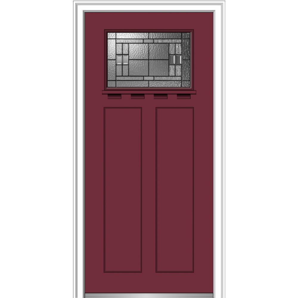 Mmi door 36 in x 80 in roman glass left hand 1 lite for Exterior doors w glass