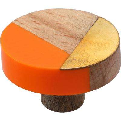 Temecula 1-1/2 in. Orange and Wood Trio Cabinet Knob
