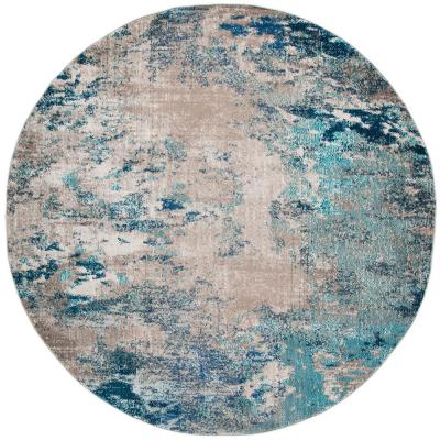 Madison Blue/Gray 7 ft. x 7 ft. Round Area Rug