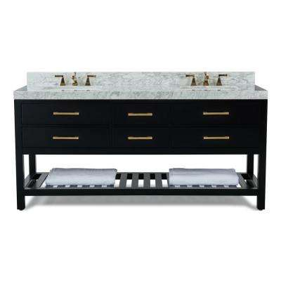 Elizabeth 72 in. W x 22 in. D Bath Vanity in Black Onyx w/ Marble Vanity Top in White w/ White Basin and Gold Hardware