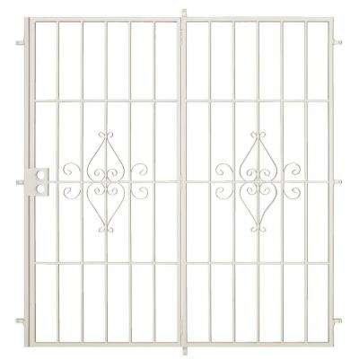 Su Casa 72 in. x 80 in. Navajo White Projection Mount Outswing Steel Patio Security Door with No Screen