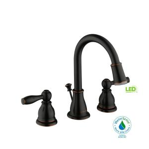 Glacier Bay Mandouri 8 inch Widespread 2-Handle LED High-Arc Bathroom Faucet in Bronze by Glacier Bay
