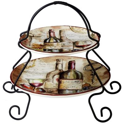 9 in. Vintners Journal 2-Tier Multi-Colored Server