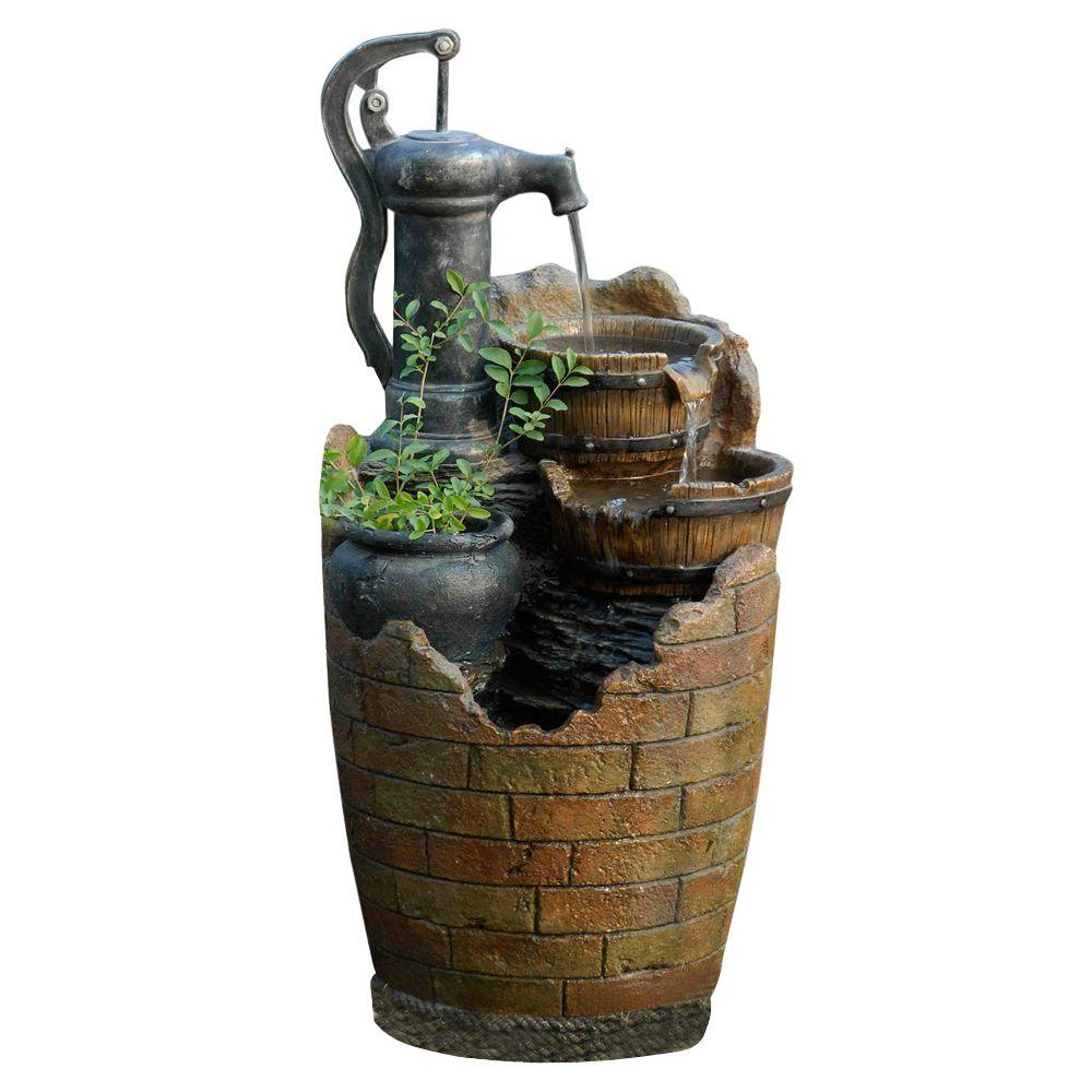 Outdoor Water Fountains Home Depot: Glenville Water Pump Cascading Water Fountain-FCL003