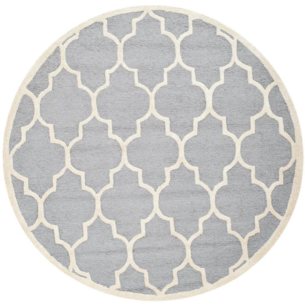 safavieh cambridge silver ivory 10 ft x 10 ft round area rug cam134d 10r the home depot. Black Bedroom Furniture Sets. Home Design Ideas