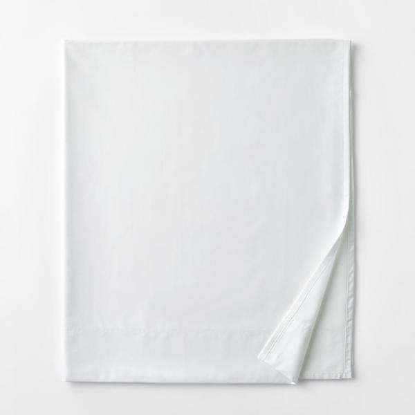 Legends Hotel White 450-Thread Count Wrinkle-Free Supima Cotton Sateen Queen Flat Sheet