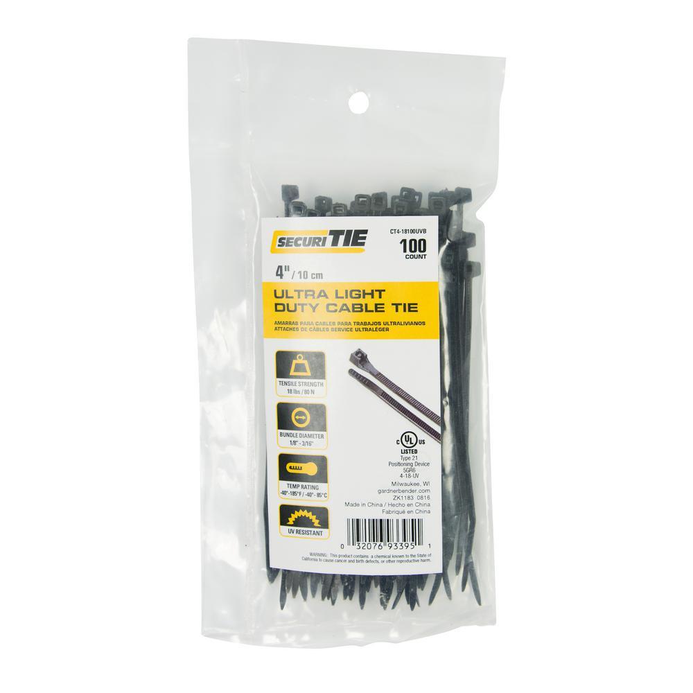 Gardner Bender 5 in. Push Mount Cable Tie, 40 lb. Tensile, UV Black ...