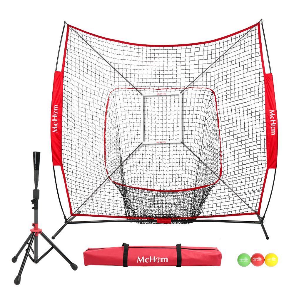 7 ft. x 7 ft. Baseball/Softball Hitting Net in Red with Strike Zone, 3-Pack Weighted Training Ball and Tee