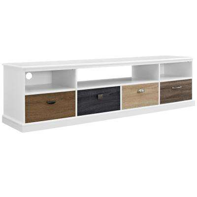 Newbridge White and Multi-Color Storage Entertainment Center