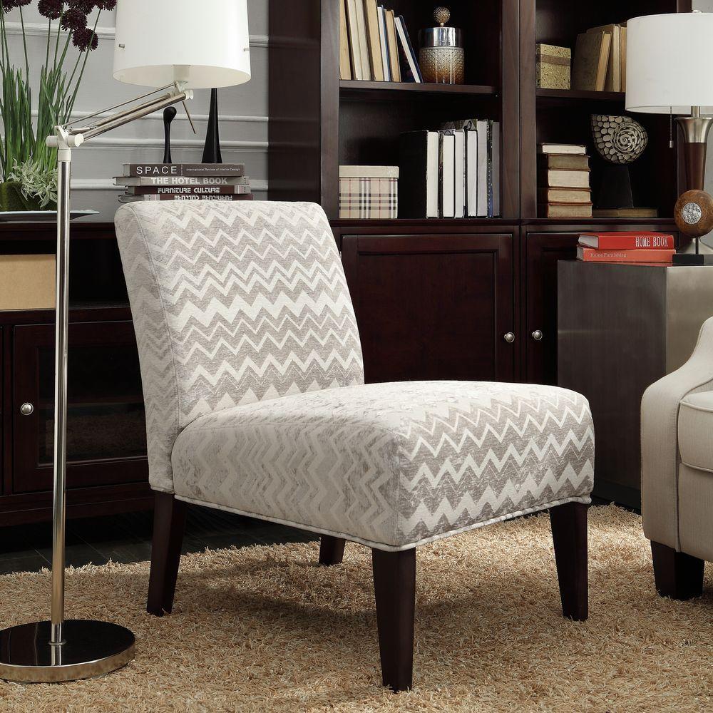 HomeSullivan Havens Grey Chevron Fabric Slipper Accent Chair