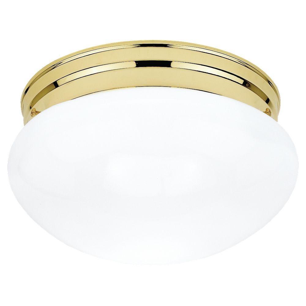 Sea Gull Lighting Webster 1-Light Polished Brass Flushmount