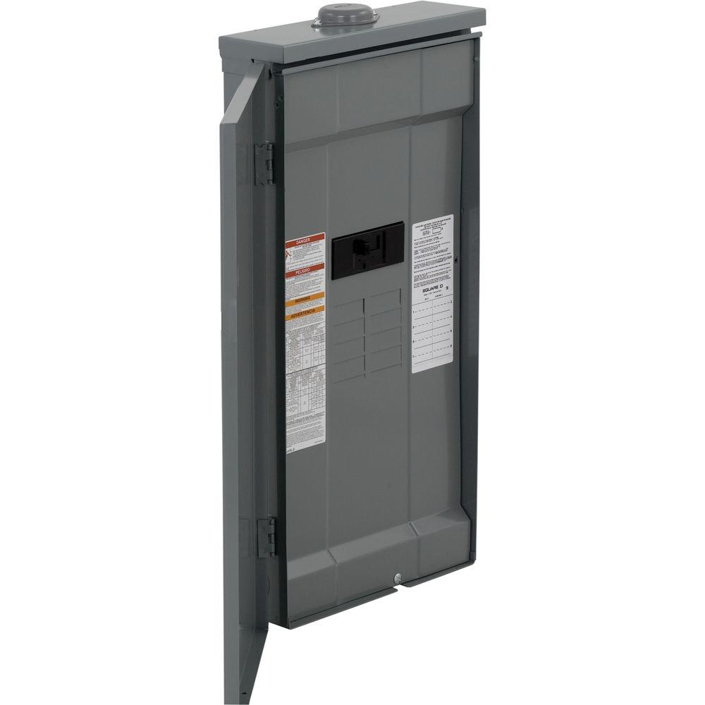 Square D Homeline 200 Amp 8-Space 16-Circuit Outdoor Main Breaker Load Center with Feed-Thru Lugs