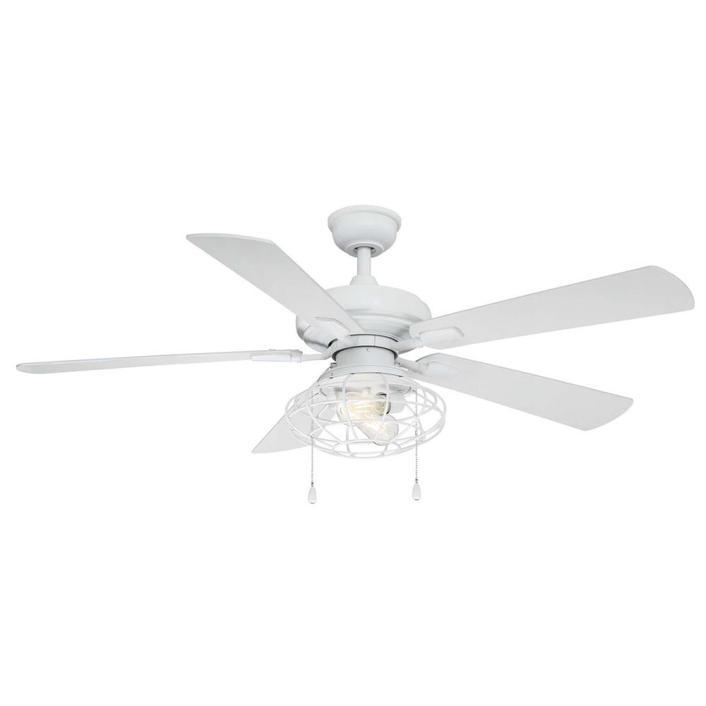 Home Decorators Collection Ellard 52 in. LED Matte White Ceiling Fan with Light Kit