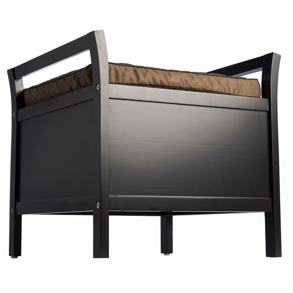 Elegant Home Fashions Dark Espresso Storage Bench Bd6b601 The Home Depot