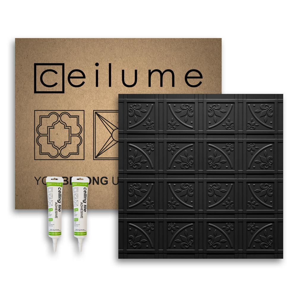 Lafayette Black 2 ft. x 2 ft. Glue-up Ceiling Tile and Backsplash Kit