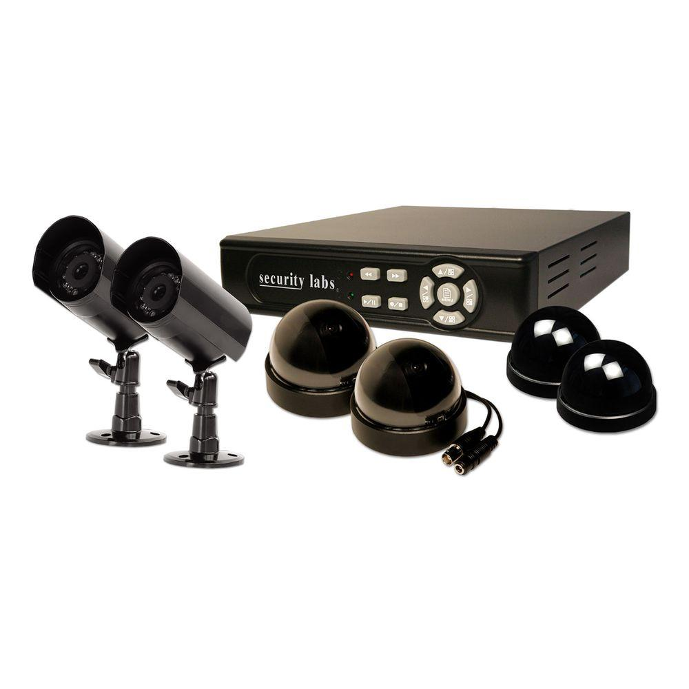 Security Labs 4 Channel Multiplex Internet DVR with 500G HD, 2 Weatherproof Bullet Cams, 2 Indoor Dome Cams, 2 Dummys-DISCONTINUED