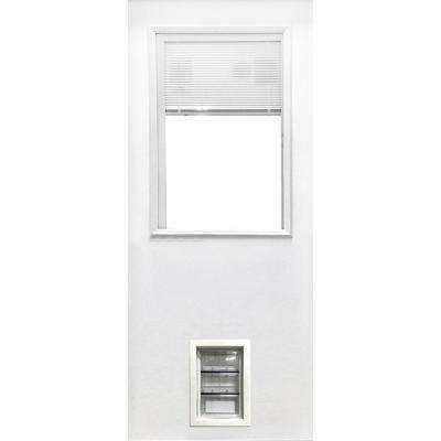 31-3/4 in. x 79 in. Clear 1/2-Lite Mini-Blind White Primed Fiberglass Front Door Slab with Medium Pet Door