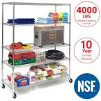 Chrome 5-Tier Rolling Metal Wire Shelving Unit (60 in. W x 76 in. H x 24 in. D)