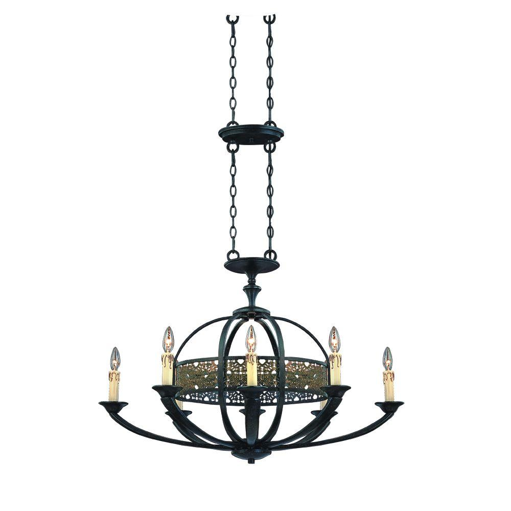 Eurofase Arsenal Collection 8-Light Ancient Bronze Oval Chandelier-DISCONTINUED