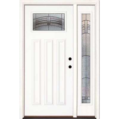 50.5 in.x81.625 in. Rochester Patina Craftsman Lt Unfinished Smooth Left-Hand Fiberglass Prehung Front Door w/ Sidelite