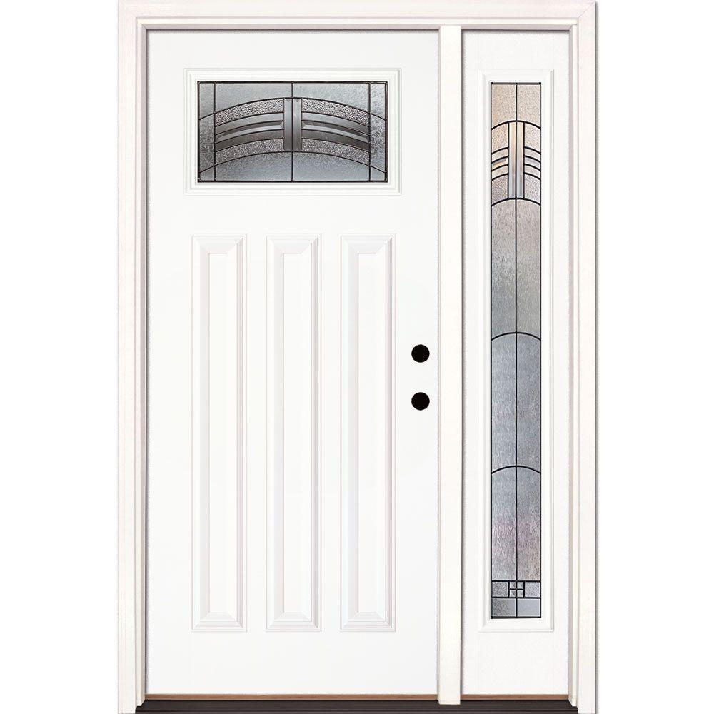 50.5 in.x81.625 in. Rochester Patina Craftsman Lt Unfinished Smooth Left-Hand Fiberglass Prehung Front Door w/ Sidelite