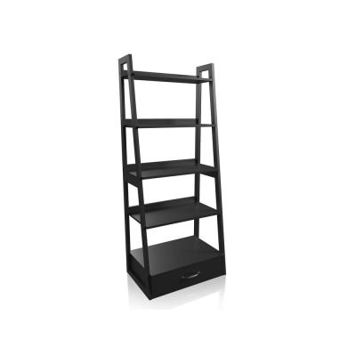 64 in. Black Wood 5-shelf Ladder Bookcase with Drawers