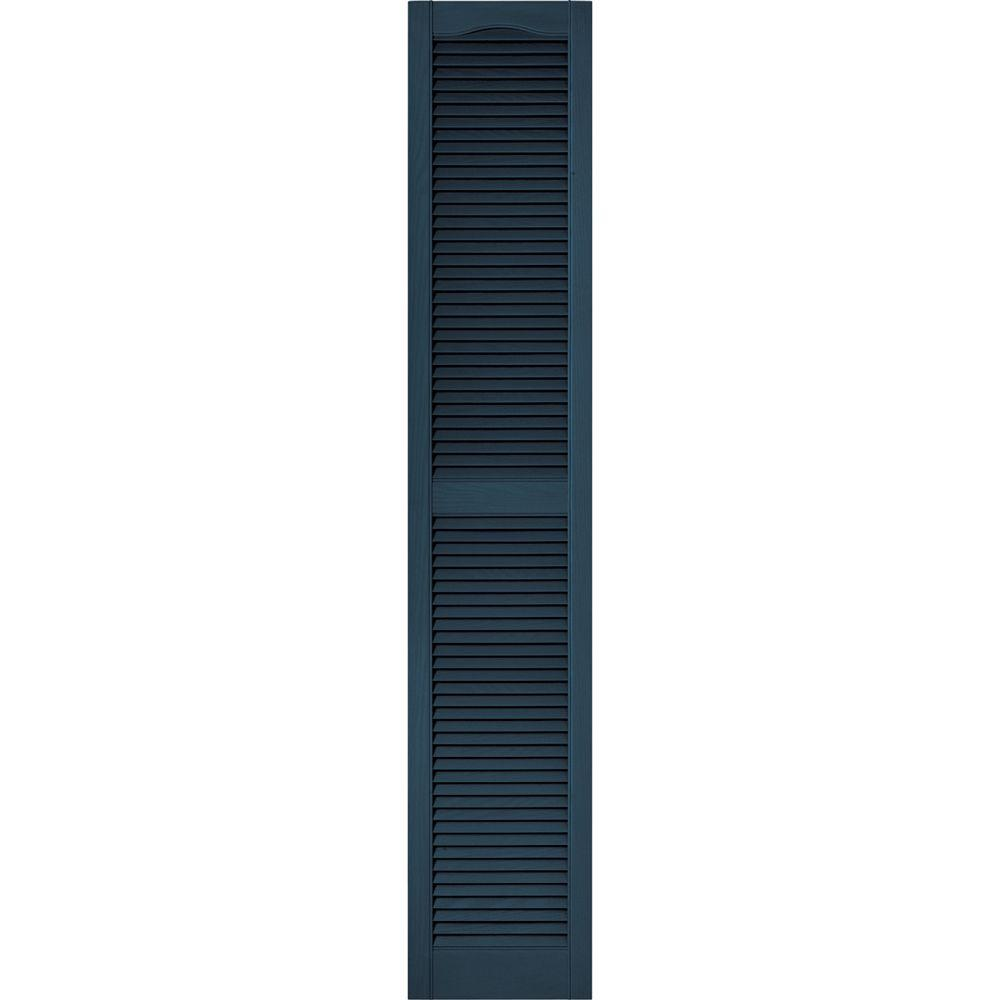 15 in. x 80 in. Louvered Vinyl Exterior Shutters Pair #036