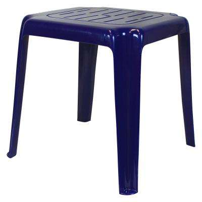17 in. Cobalt Blue Stackable Slotted Plastic Outdoor Side Table