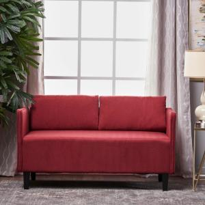 Noble House Sullivan Deep Red Fabric Loveseat 301058 The Home Depot