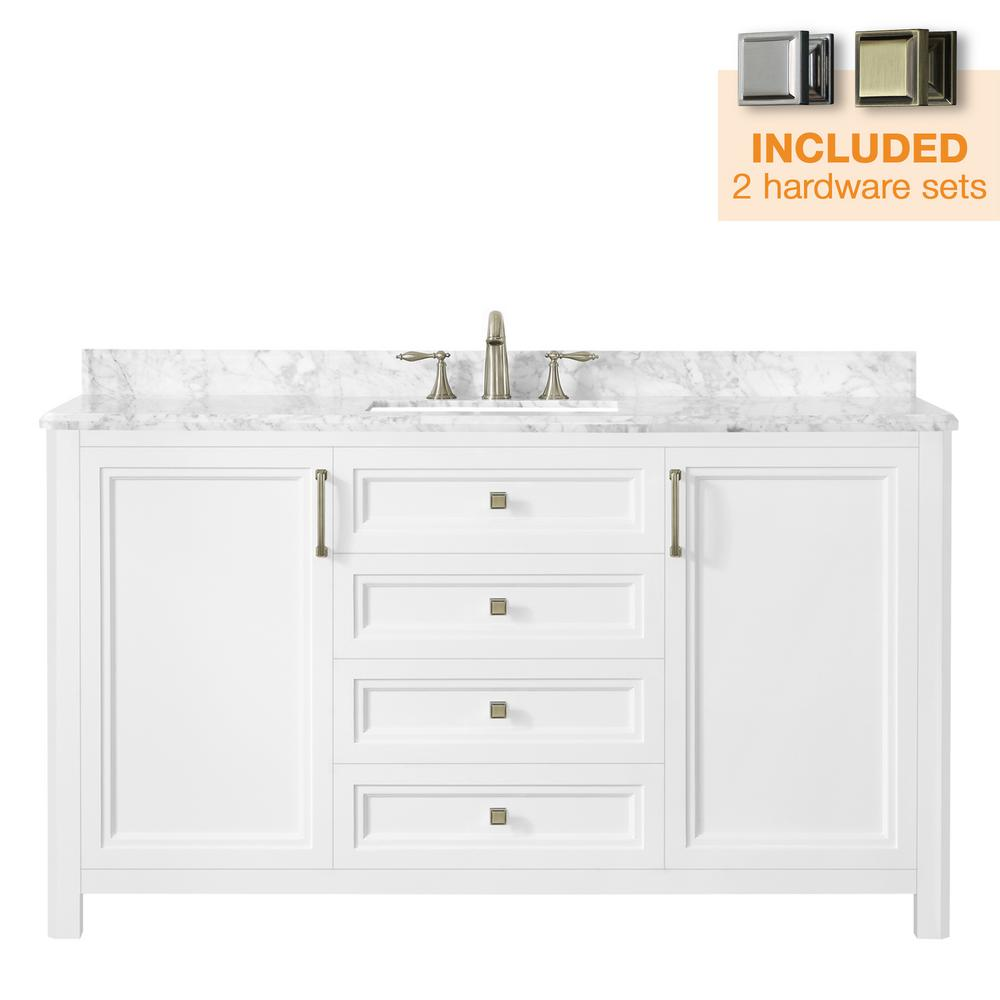 Home Decorators Collection Sandon 60 in. W x 22 in. D Bath Vanity in White with Marble Vanity Top in Carrara White with White Basin