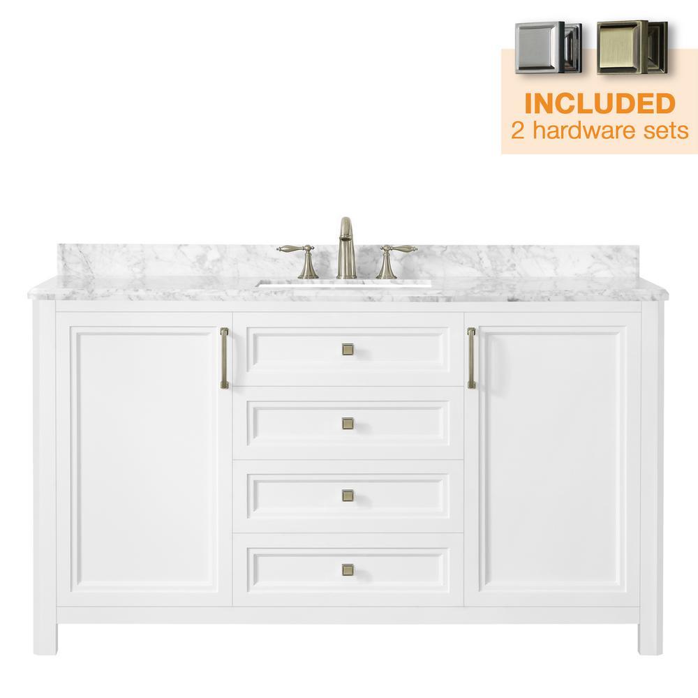 Sandon 60 in. W x 22 in. D Bath Vanity in White with Marble Vanity Top in Carrara White with White Basin