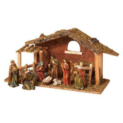 7.87 in. H Resin Nativity Scene with Moss Stable (9-Set)