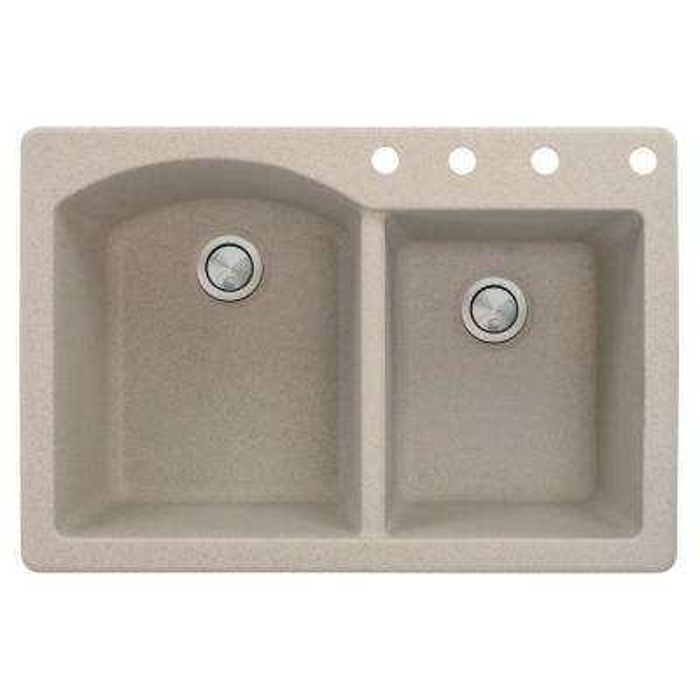 Aversa Drop-in Granite 33 in. 4-Hole 1-3/4 D-Shape Double Bowl Kitchen Sink in Cafe Latte