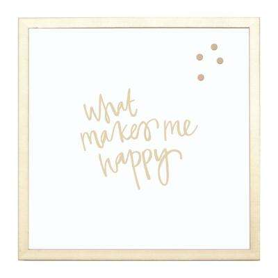 What Makes Me Happy, GOLD FRAME, Magnetic Memo Board