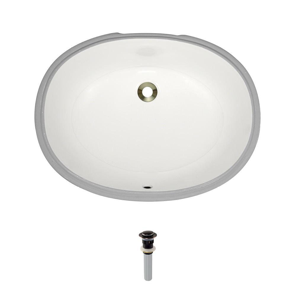MR Direct Undermount Porcelain Bathroom Sink in Bisque with Pop-Up Drain in Antique Bronze