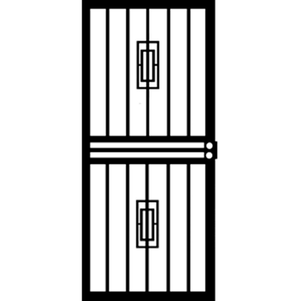 32 in. x 80 in. 453 Series Black Mars Security Door